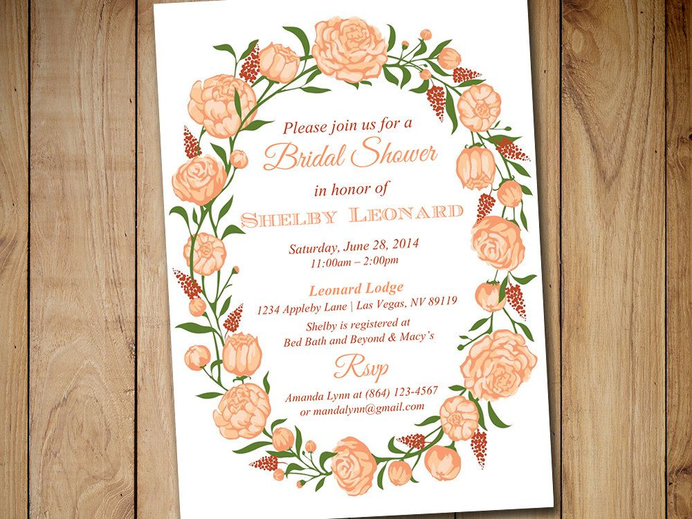 """Bridal Shower Invitation Template - Rose Wedding Shower Template """"Lovely Garden"""" Fuzzy Peach Tuscany - Tea Party Shabby Chic Bridal Shower by PaintTheDayDesigns on Etsy"""