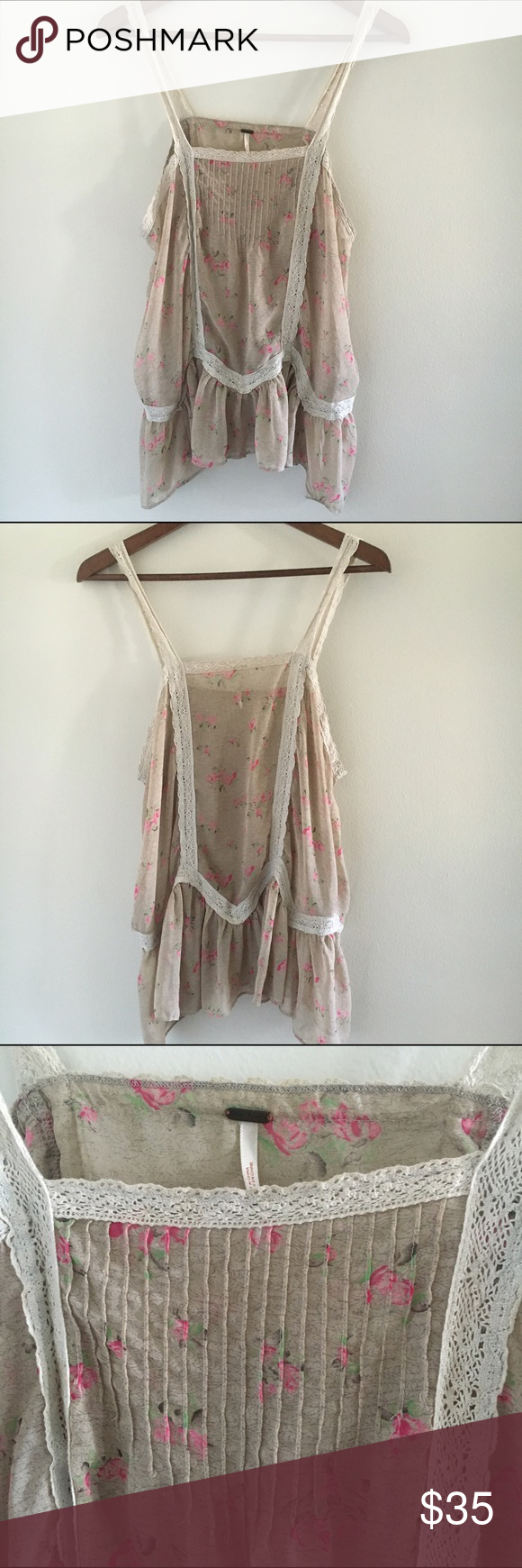 Color printing bu - Final Price Free People Rayon Lace Cami Beautiful Camisole Top By Free People Lace Straps And Details Beige Color With Roses Print