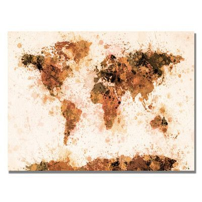 """Trademark Art """"World Map Splashes"""" by Michael Tompsett Graphic Art on Wrapped Canvas in Bronze Size:"""