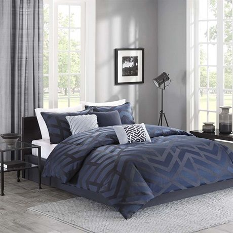 Looking To Add A Contemporary Touch To Your Room Then The Chevron Nights 7 Piece Comforter Set Comforter Sets Blue Bedding Master Bedroom Navy Blue Comforter