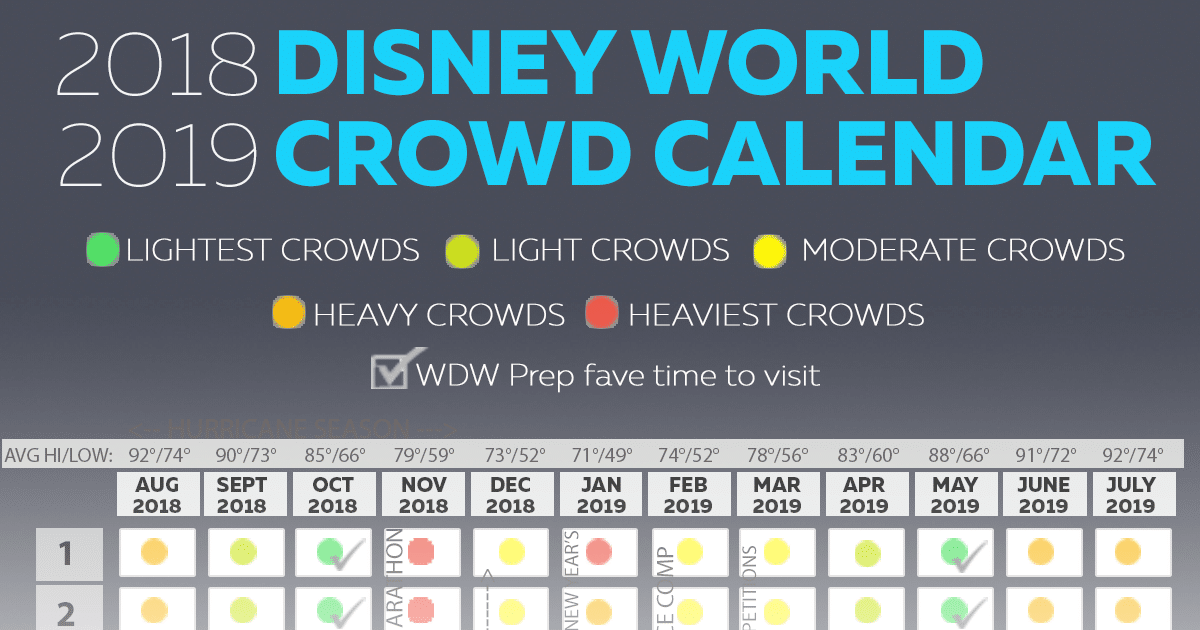 Disneyland Calendar 2020.Disney World 2018 2019 Crowd Calendar Best Times To Visit Disney