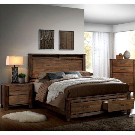 Furniture of America Nangetti Rustic Wood 2-Piece Queen Bedroom Set in Oak - Walmart.com