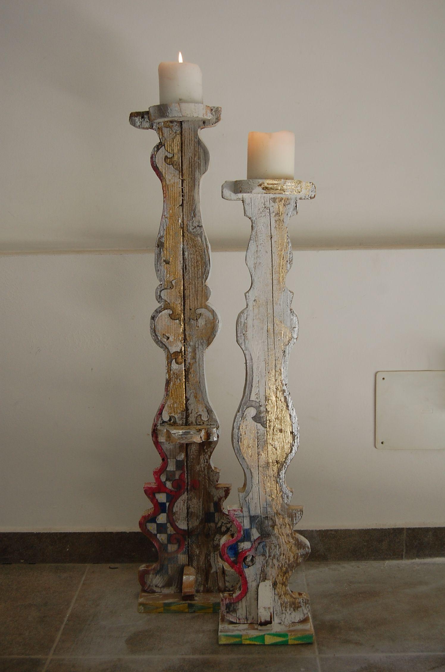 candelabri in legno di recupero