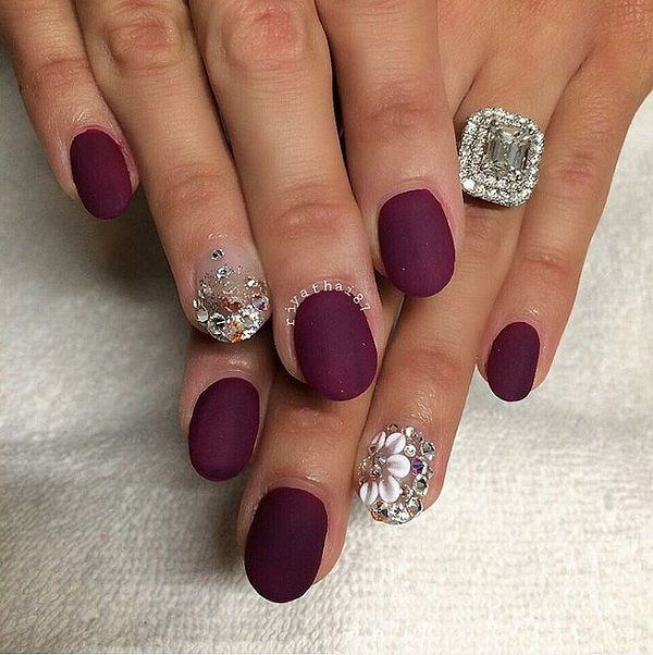 Pretty Looking Maroon Nail Art Design Making Use Of The Hue As Background