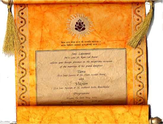 DESIGNER WEDDING SCROLL FOR PERFECT INDIAN WEDDINGOutstanding Color CombinationAvailable