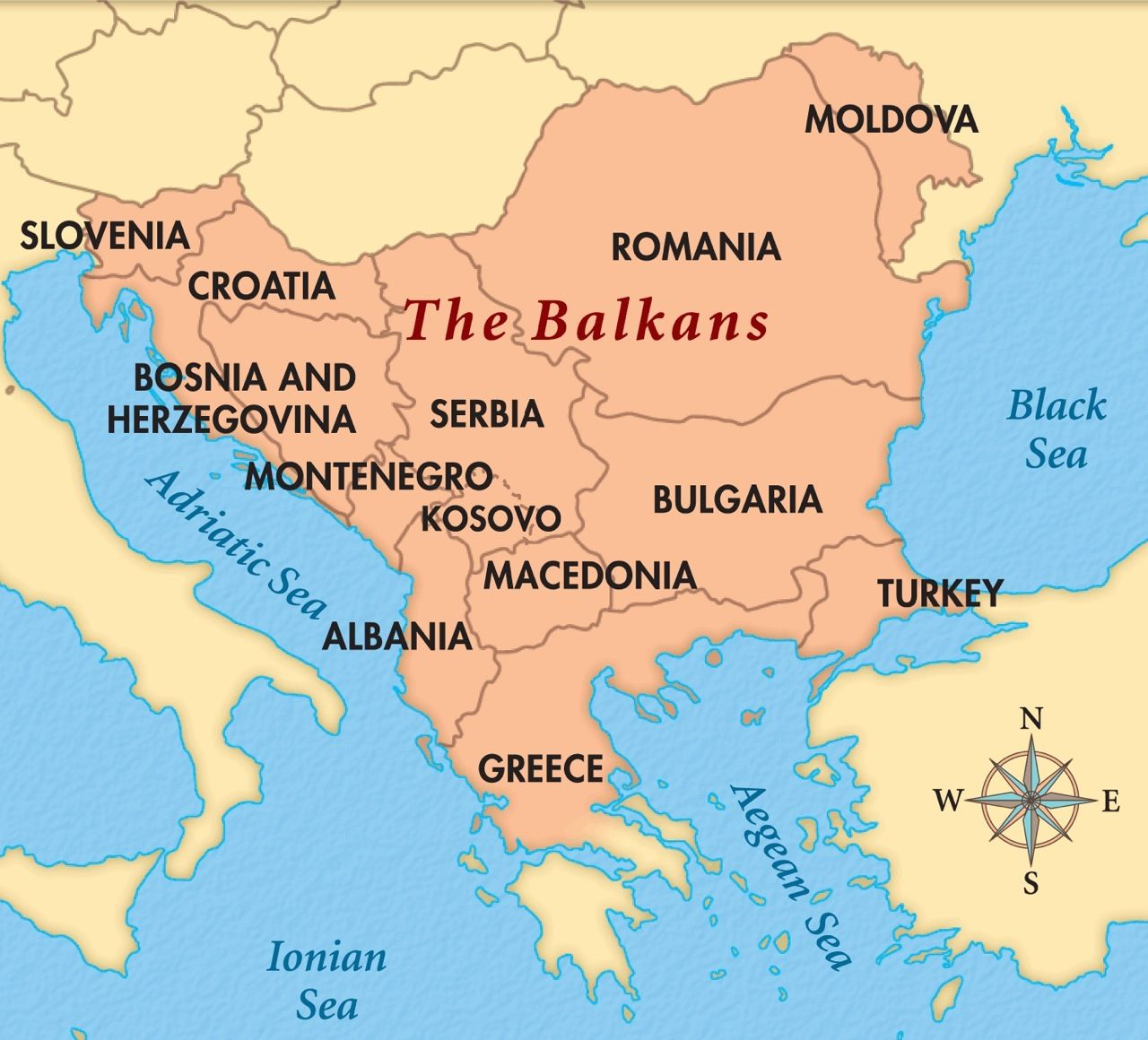 Balkans map. Territories whose borders lie entirely within the