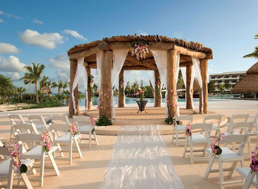 The Beautifully Decorated Wedding Gazebo Situated In Center Of Secrets Maroma Beach Near Main