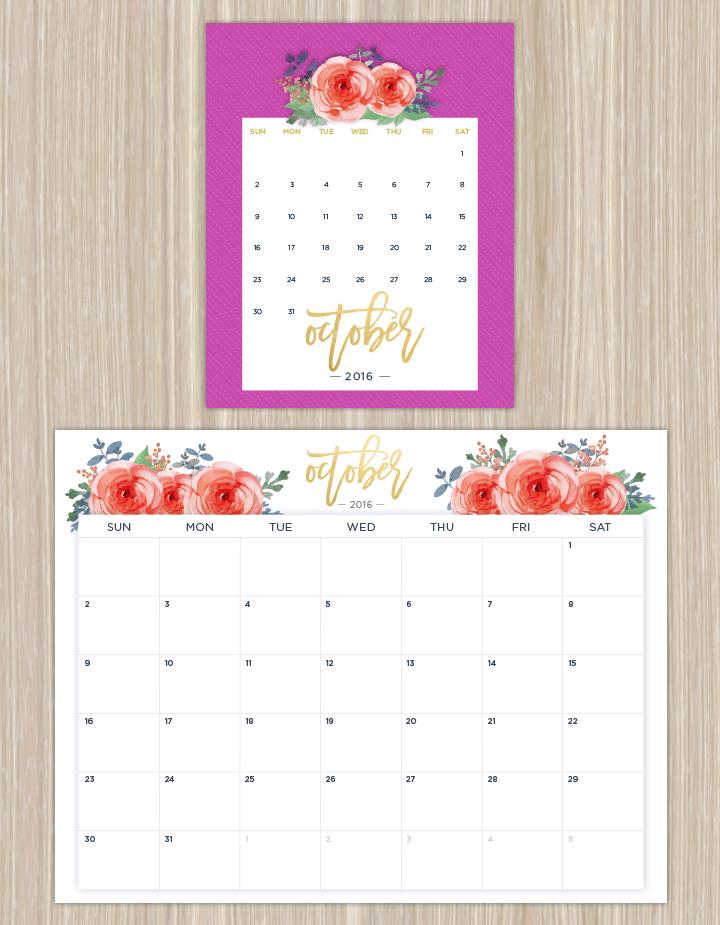 Calendar Floral : Printable calendars for a more floral