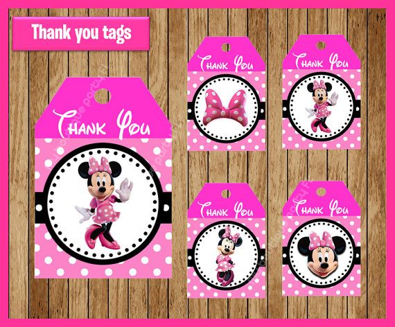 pink minnie mouse thank you tags instant download printable minnie
