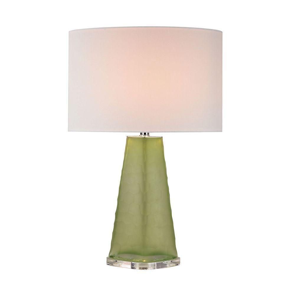Titan Lighting 27 in. Green Skirted Glass Table Lamp