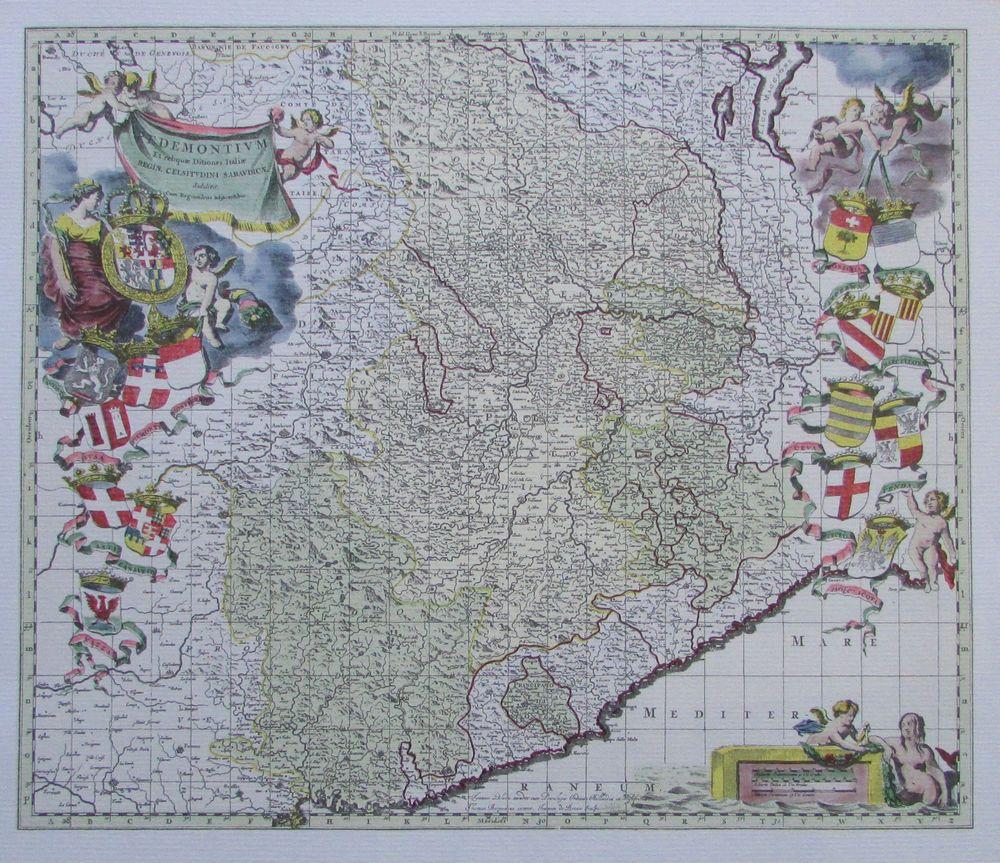 Karte Von Piemont Mit Wappenzierat 17 Jh Kunstdruck 90er Jahre