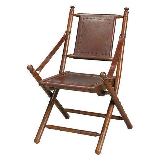 Bruine splitleer en massief teakhouten stoel