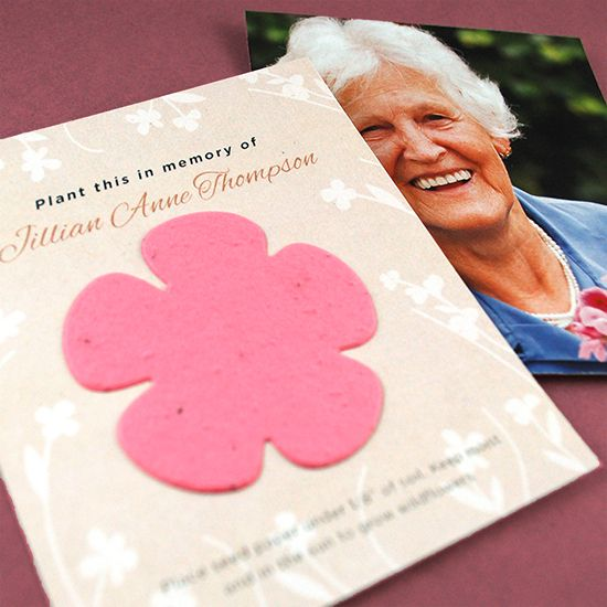 The Eternal Blossoms Photo Memorial Seed Cards will provide them with a photograph keepsake of their loved one along with a symbolic seed paper flower to plant in memory. When guests take them home, they'll have the opportunity to plant the eco-friendly shape to grow real blooms in honor of their loved one