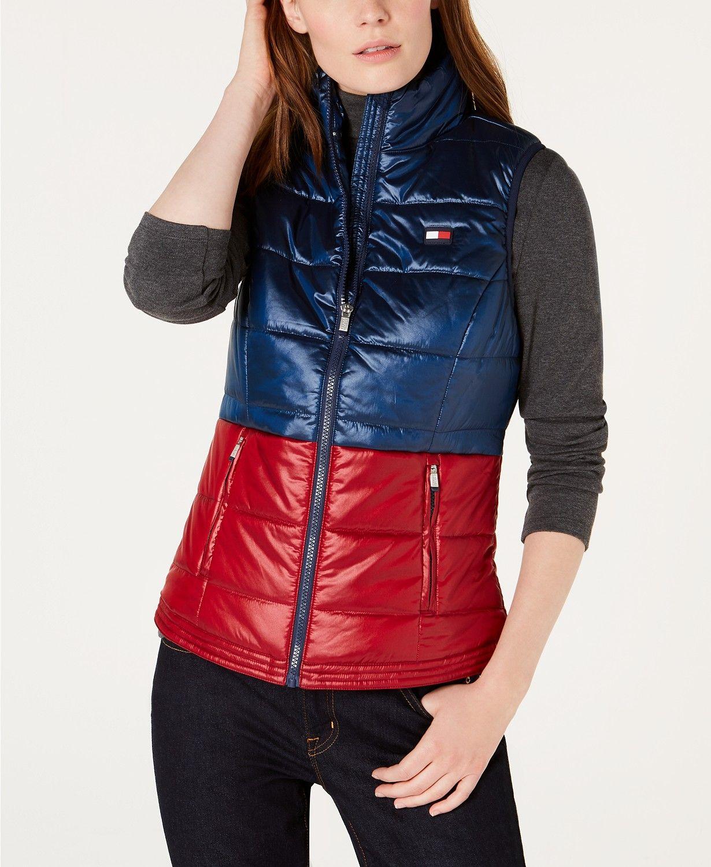 Tommy Hilfiger Shiny Bi Color Vest Jackets Women Macy S Blazer Jackets For Women Puffer Vest Outfit Fitness Fashion [ 1500 x 1230 Pixel ]