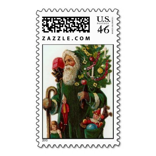 Vintage Santa Delivers Toys and Tree Postage