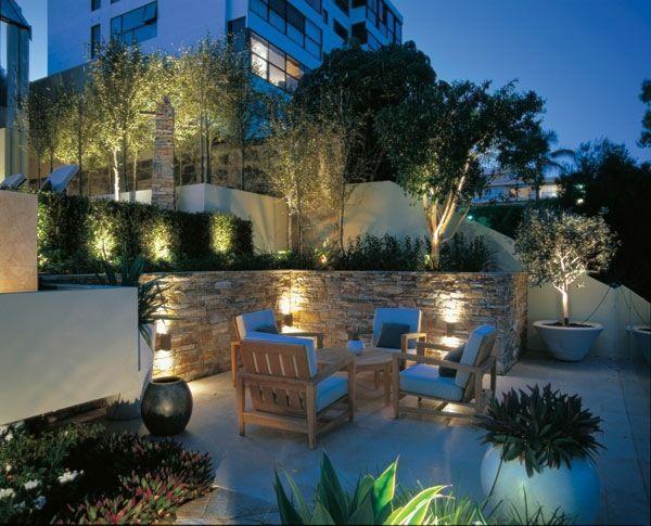 Garten Hang Terrasse Stein Stützmauer | beleuchtung | Pinterest ...