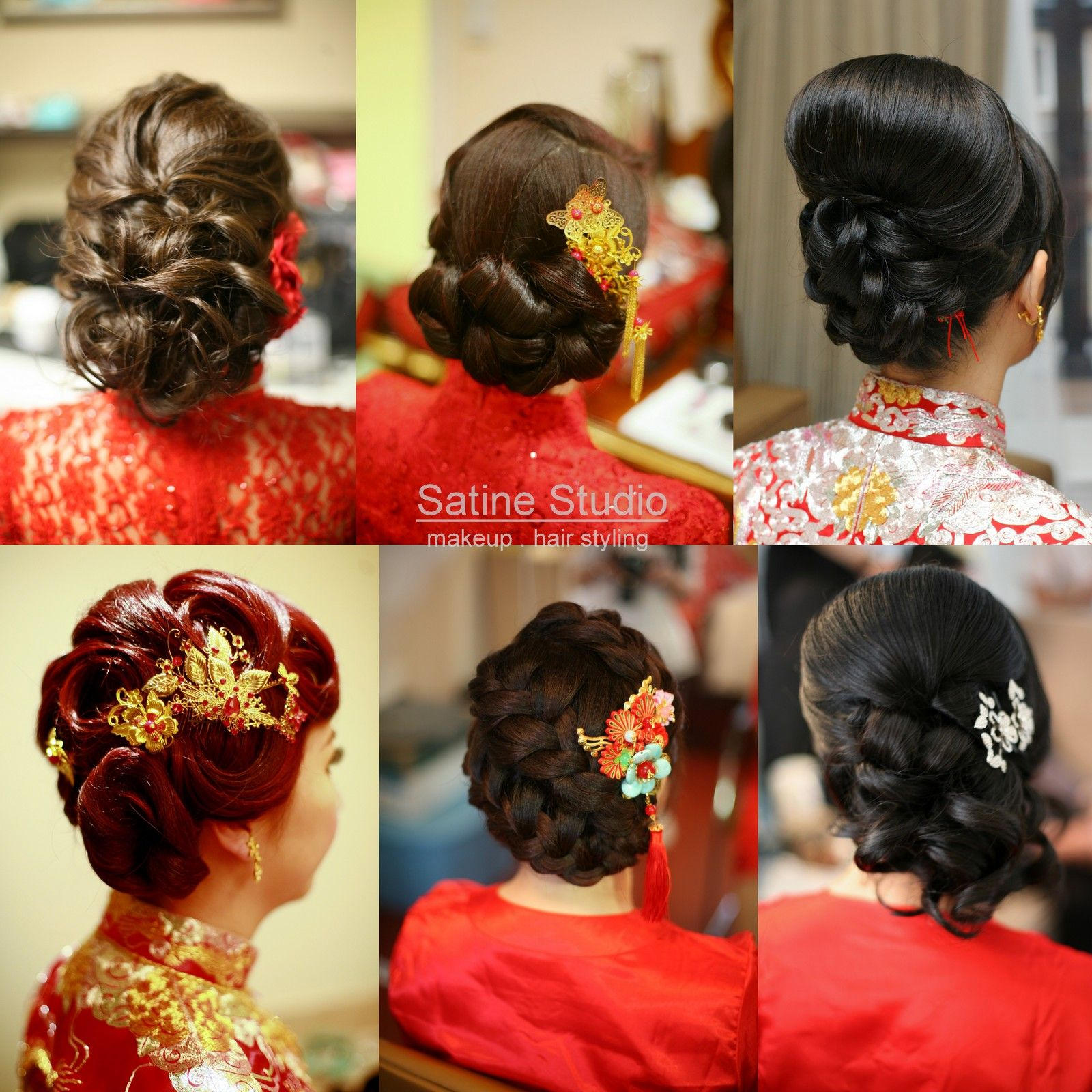 Chinese Bridal Hairstyles Classic Sleek Updo 新娘盘头发型: Chinese Wedding Hairstyles Satinestudio.com Bridal Updo