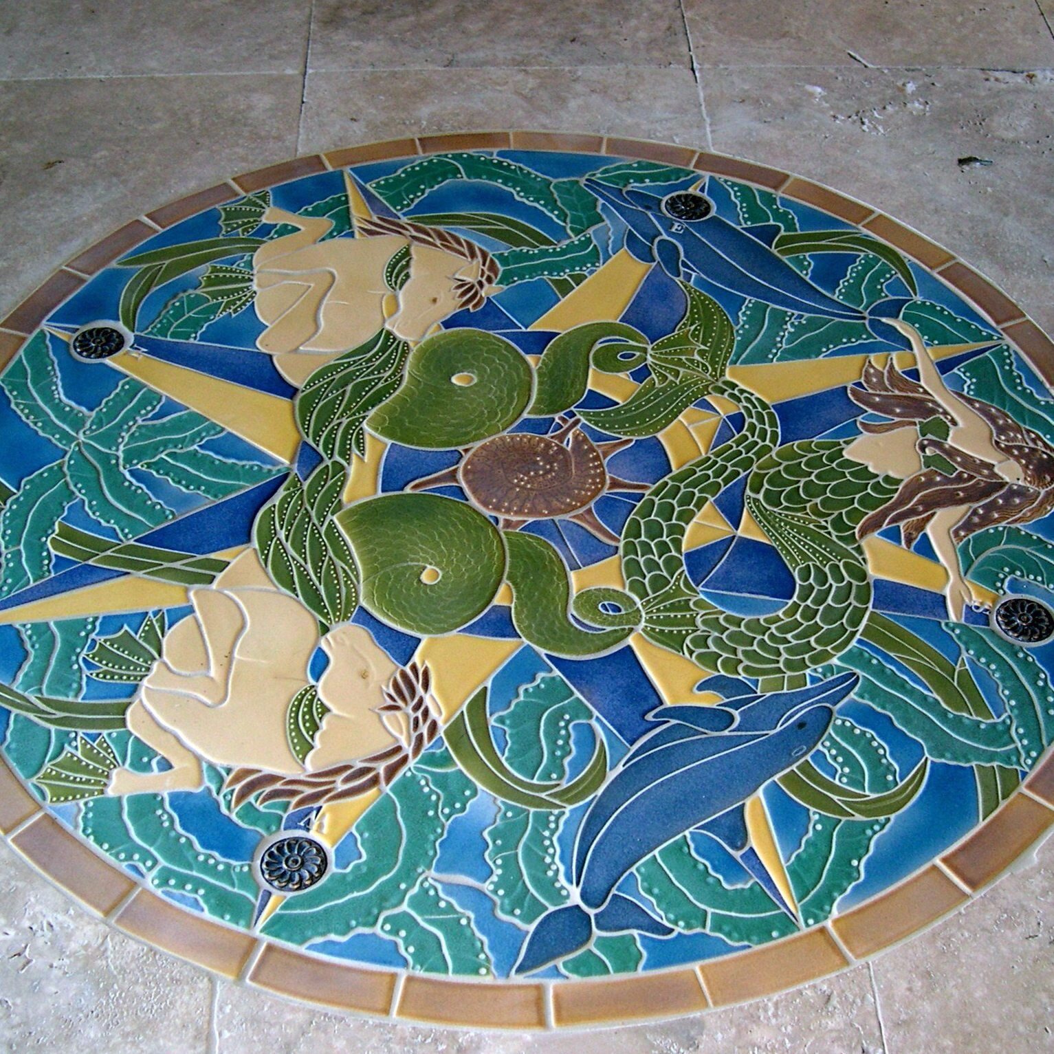 Luxury unicorn and mermaid bathroom mosaic tile art for fantastic patio floor ideas apply the - Basics mosaic tiles patios ...