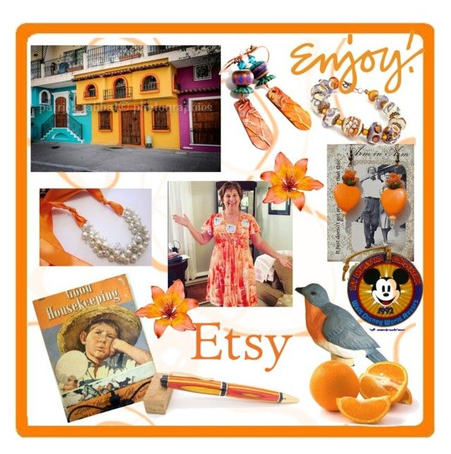 """""""Orange..the happiest color !!"""" by riagr ❤ liked on Polyvore featuring Disney, handmade, shopsmall, integrityTT, EtsySpecialT and etsyevolution"""