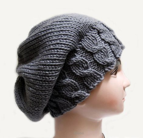 Knitting pattern Hat Beanie Slouchy fall for womens in PDF Giftseshop.com ...