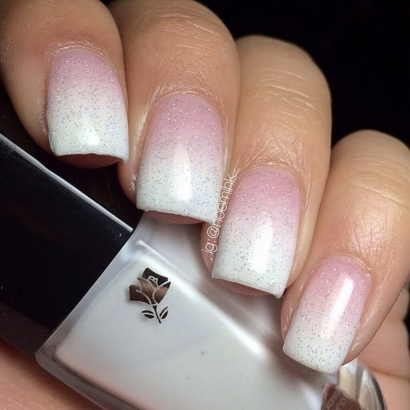 White Ombré By Noemi D Click The Pic To See 3 Polishes She Used Nails Nailart Ombre Glitter Pink