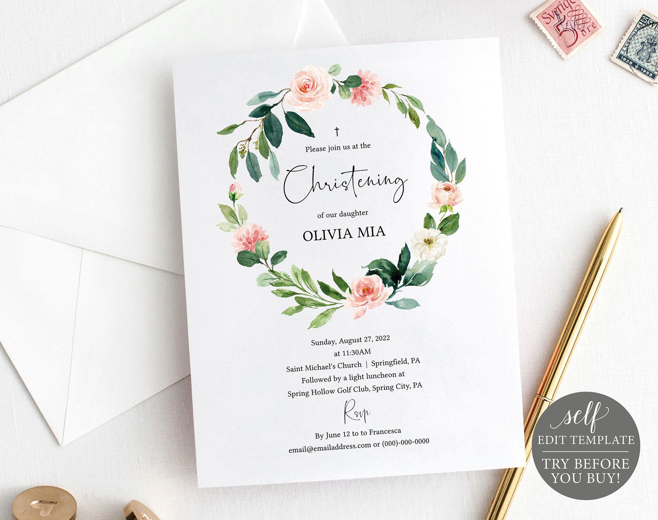 Christening Invitation Template, Editable & Printable