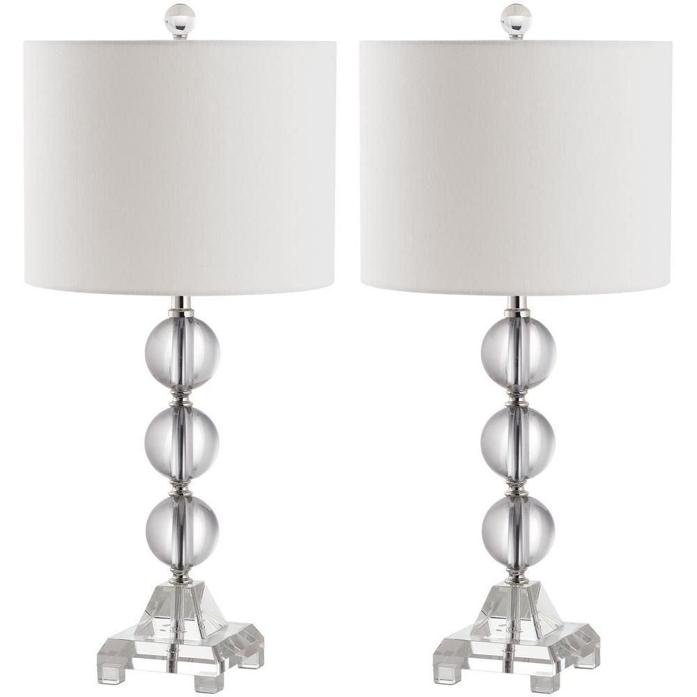 Safavieh Fiona 24 In Clear Crystal Ball Table Lamp With White Shade Set Of 2 Lit4100a Set2 The Home Depot Crystal Table Lamps Lamp Sets Table Lamp