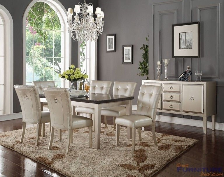Acme Furniture  Voeville Bluestone Top Platinum Dining Table Glamorous Acme Dining Room Set Decorating Design