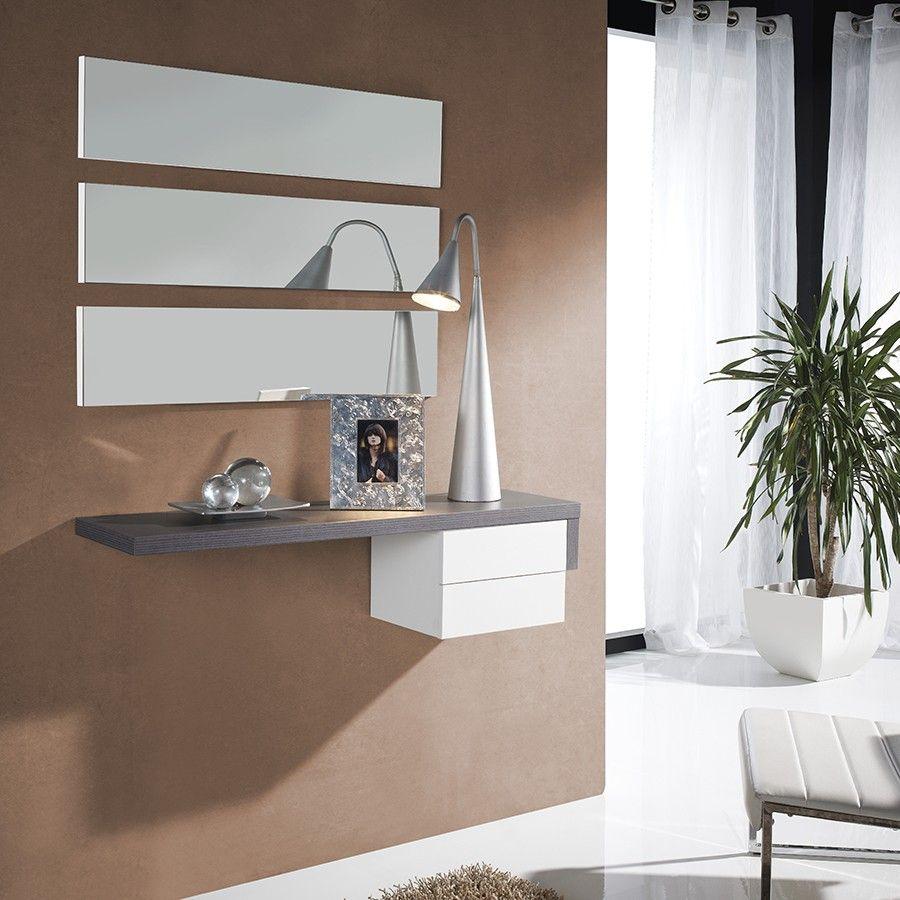 Meuble D 39 Entree Moderne Miroirs Gloria Coloris Blanc Et Gris Cendre Meuble Entree Meuble Entree Design Entree Moderne