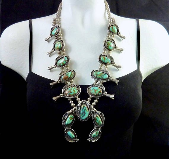 251g Vintage Navajo Sterling Silver Squash Blossom Necklace w