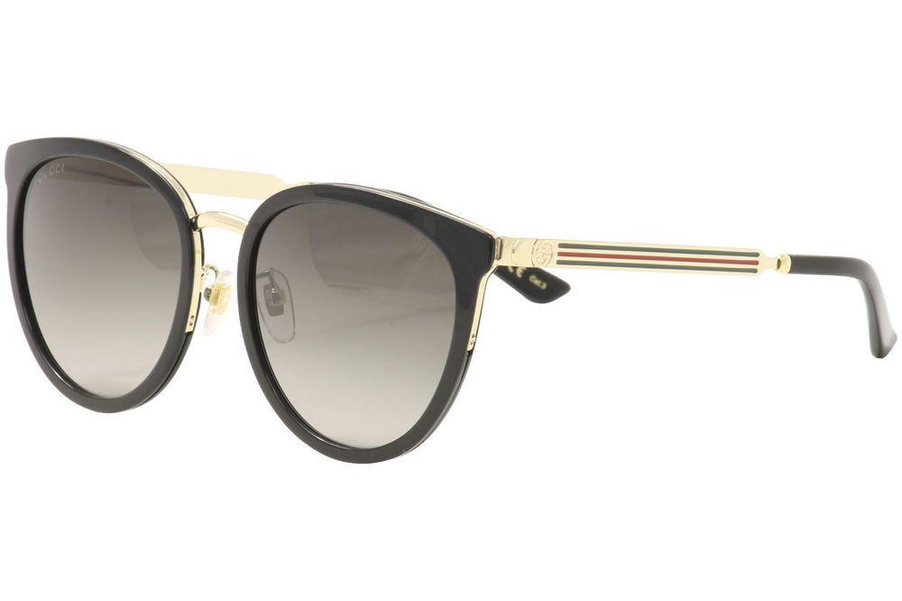 fce69567aa Gucci Women s GG0077SK GG 0077 SK 001 Black Gold Round Sunglasses 56mm  designer fashion