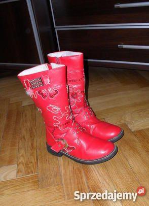 Kozaczki Czerwone Na Niskim Obcasie Boots Rubber Rain Boots Shoes