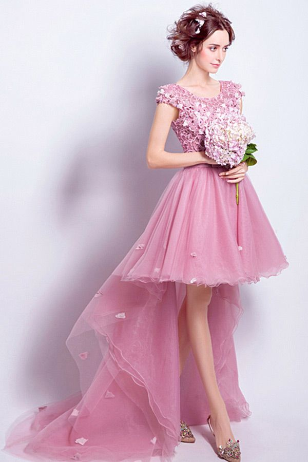 Only $148.99, Prom Dresses Pink A-line Scoop Neck High Low Tulle ...