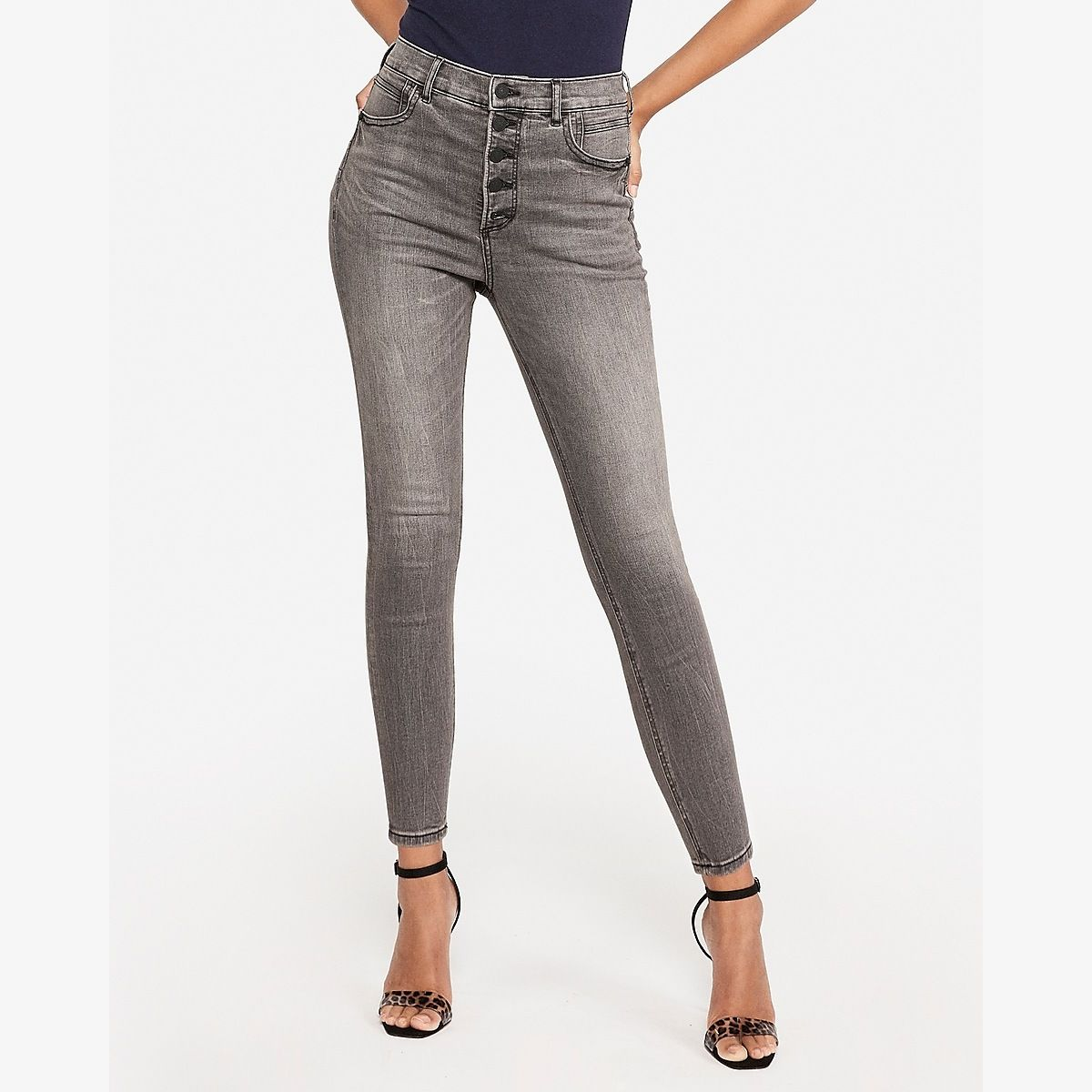 High Waisted Denim Perfect Lift Gray Button Fly Ankle Leggings Black Women's 16 #leopardshoesoutfit