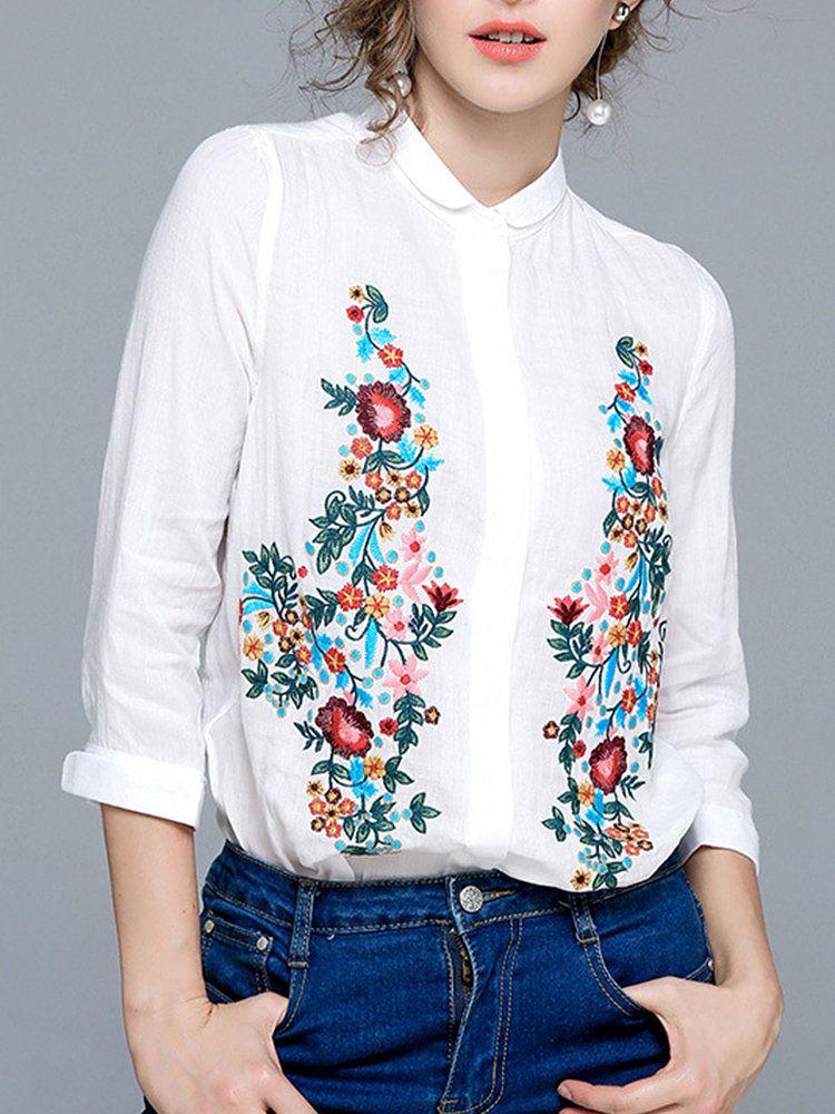 c3918c87fb4c0 Casual Embroidery Turn-Down Collar Long Sleeve Women Shirts  cute  women   shirts