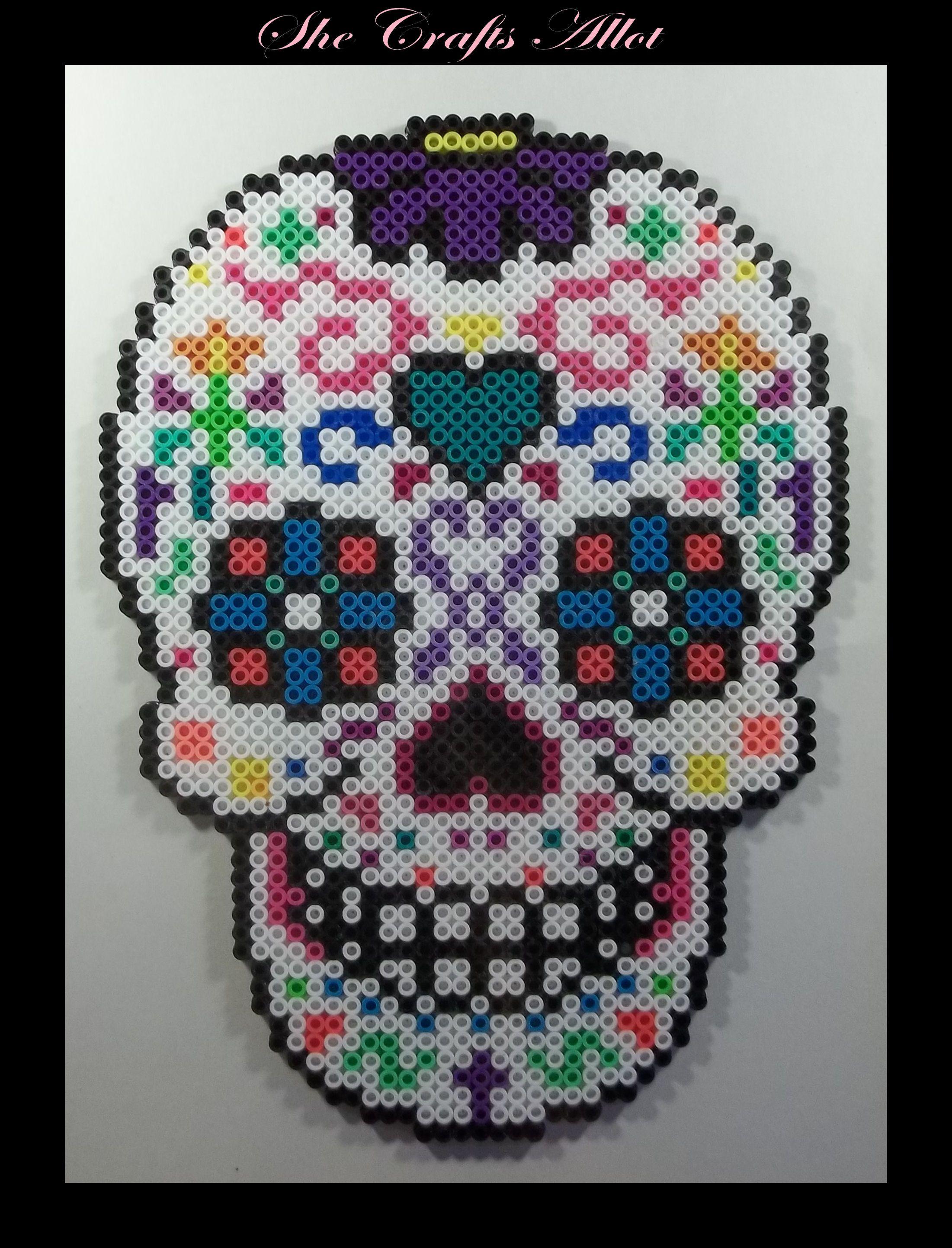 Perler Bead Colorful Sugar Skull Pattern Halloween Bügelperlen