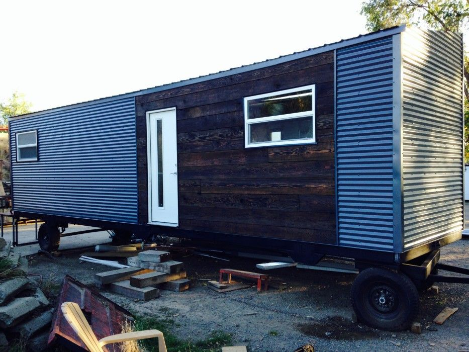 Finished Reclaimed Barn Wood Siding On Our 35 Tiny House From