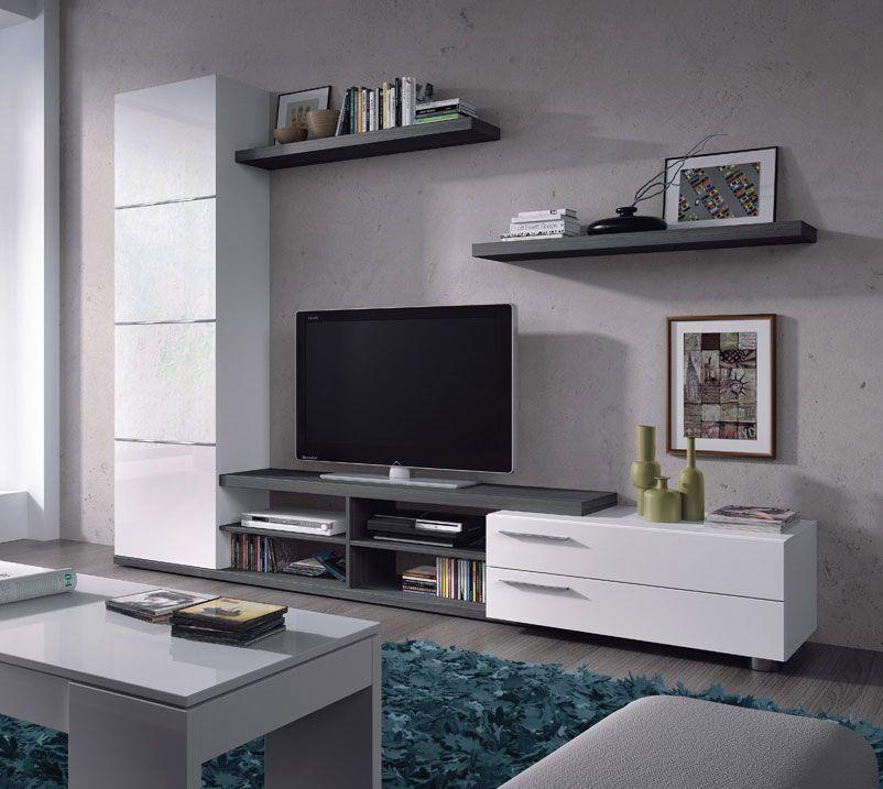 Mueble Comedor Salón TV ADHARA de 240 cms. blanco y gris ceniza ...