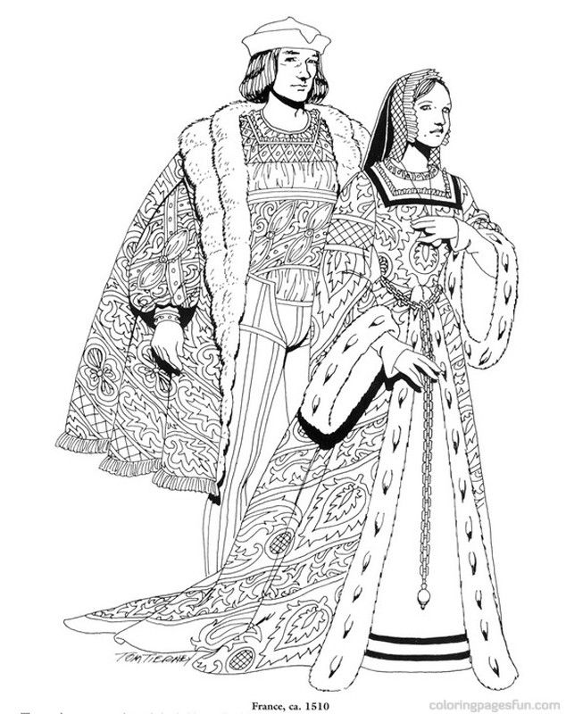 Renaissance Costumes and Clothing Coloring Pages 18 | 15.&16 ...