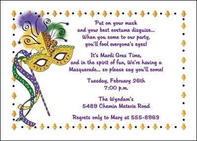 Mardi Gras Party Mask Invite Mardi Gras Style Party Pinterest