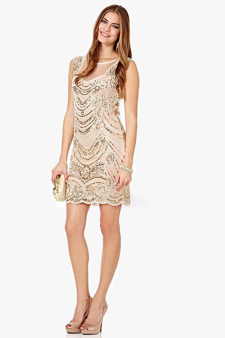 Nude Sequin Flapper Dress | Bearcat Bridesmaids! | Pinterest ...