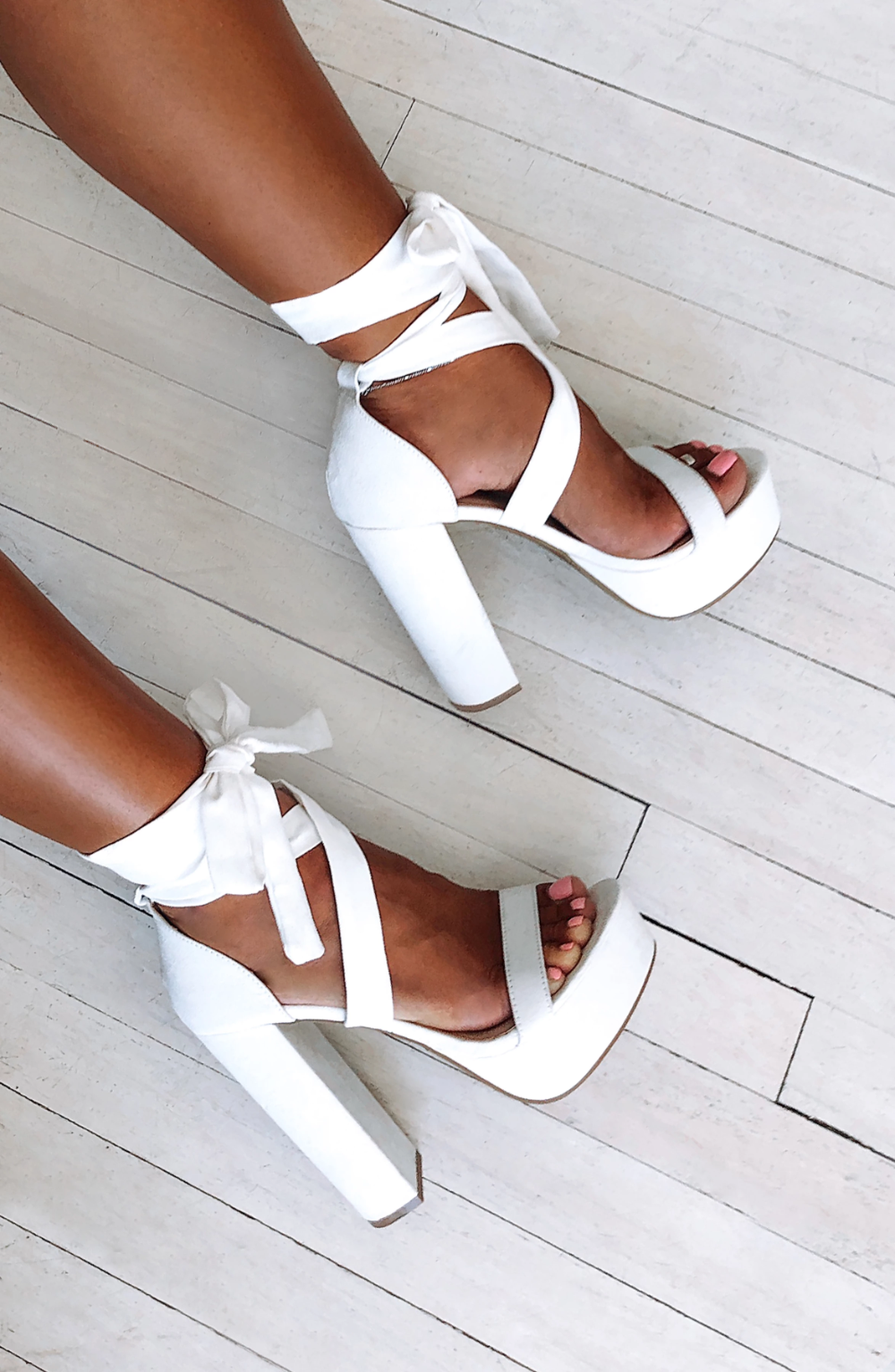 Danica Block Heels - White – Babyboo Fashion