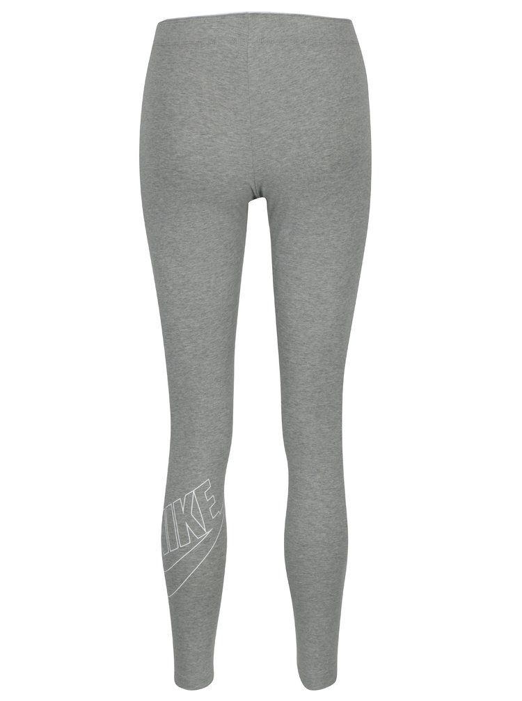 Šedé dámské žíhané sportovní legíny s potiskem Nike Sportswear Logo Club a32d6469ca
