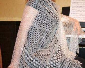 Woman shawl. Wedding shawl Knitted Orenburg shawl by Vitalights