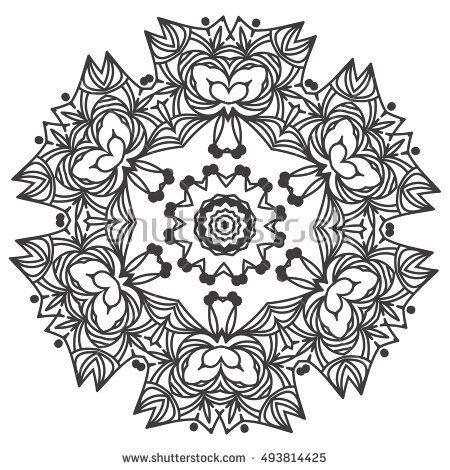 Ethnic Fractal Mandala Floral Doodle Pattern - Coloring page for ...