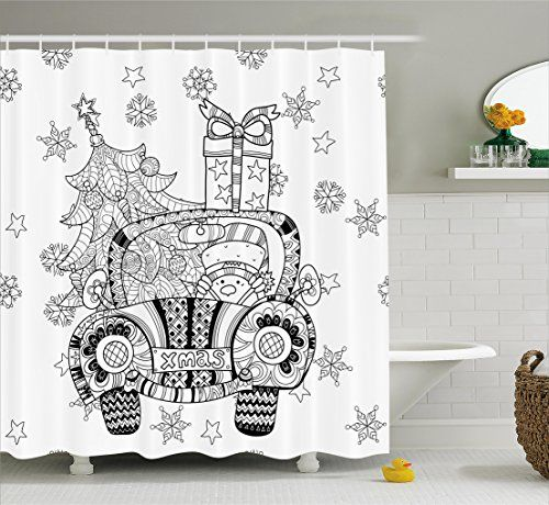 Christmas Shower Curtain Set By Ambesonne Abstract Xmas Car With
