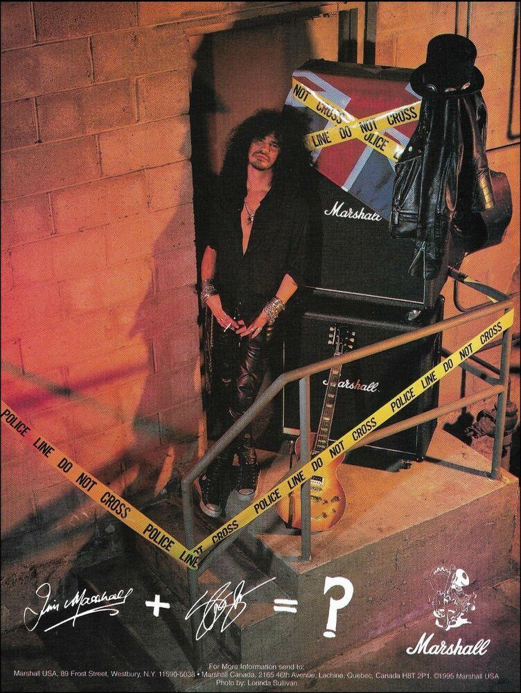 Guns N' Roses Slash Signature Marshall Guitar Amps 1995 ad 8 x 11 ...