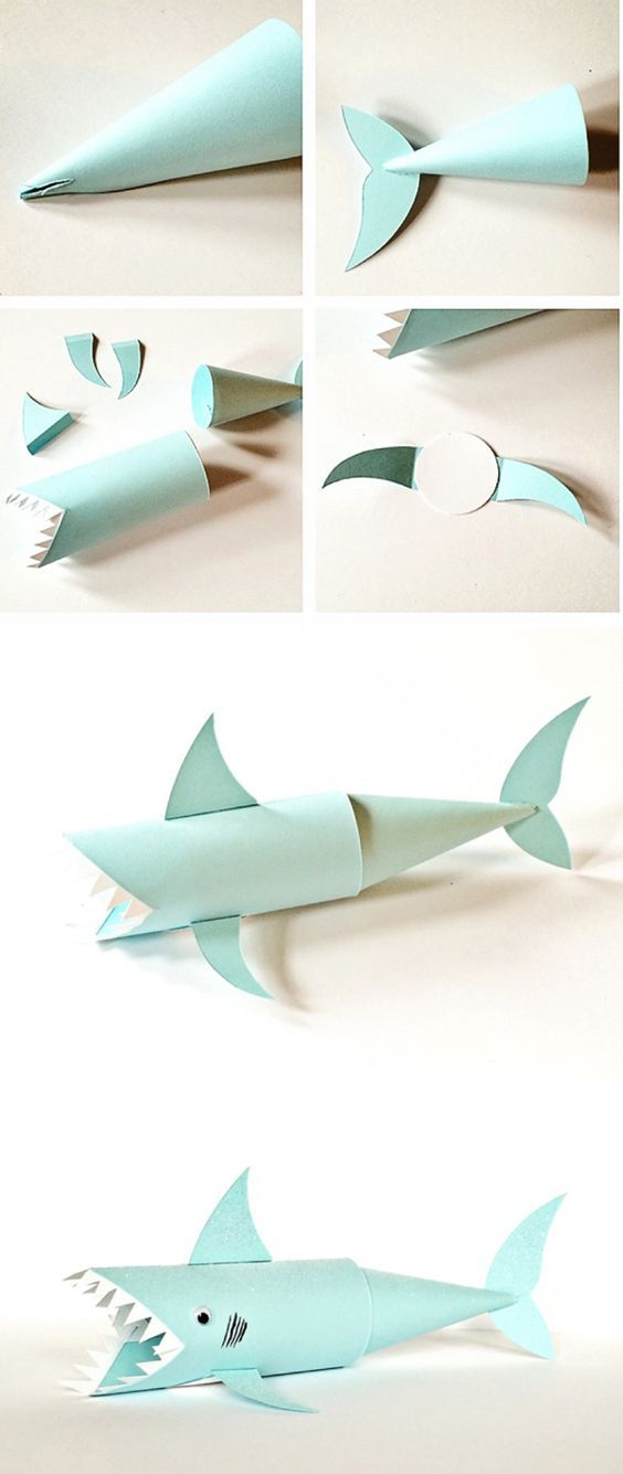 Shark paper tube craft cute ocean and recycled craft for for Cute paper crafts