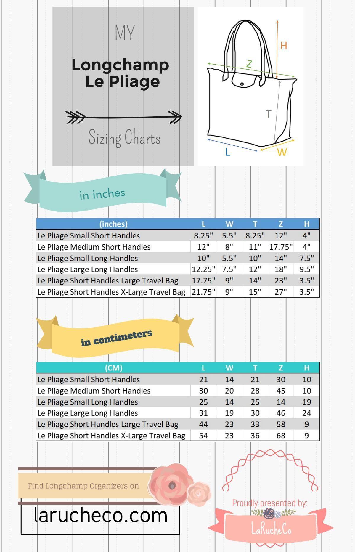 b2344d742cf Infographic Longchamp Size Comparison | sewing bag/purse and etc ...