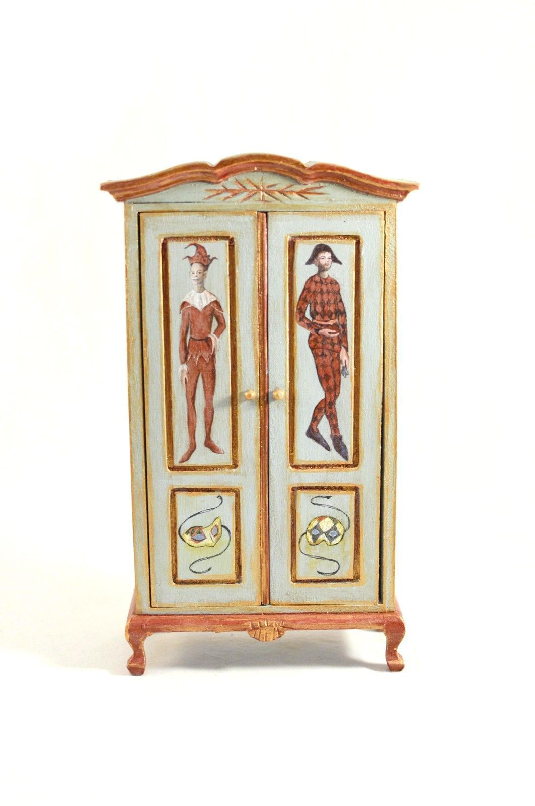 Artisan hand painted jester armoire in sage green/rust